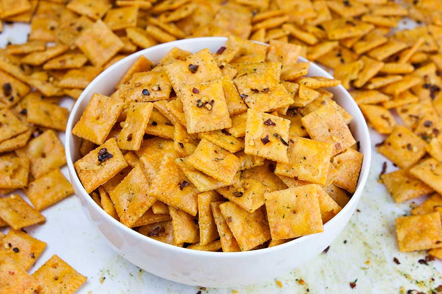 Firecracker Cheez-Itz - closeup of the baked crackers in a white bowl
