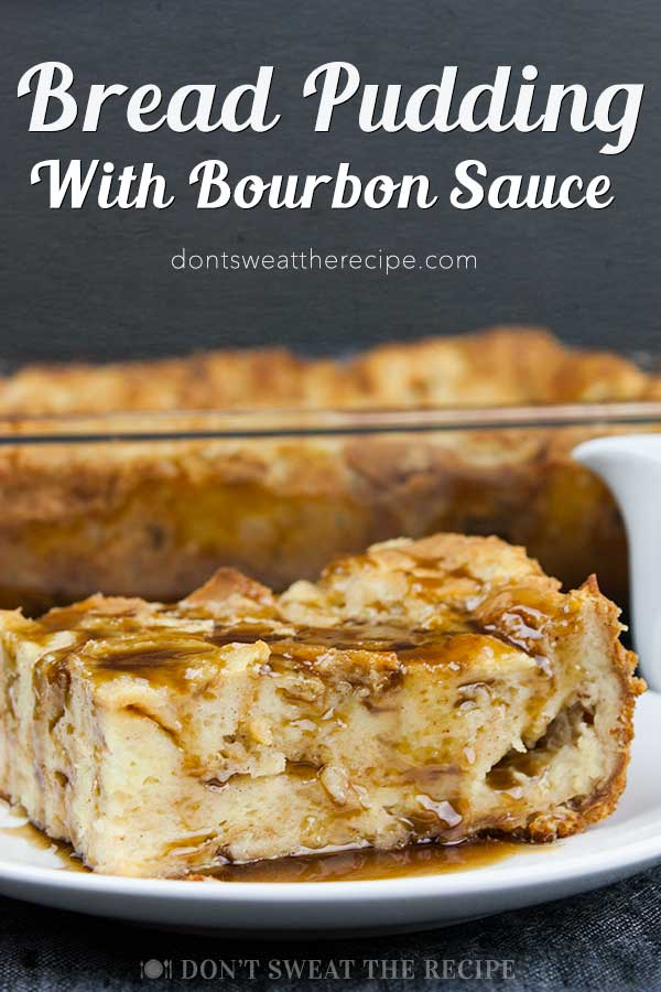 Bread Pudding with Bourbon Sauce - Moist, dense yet light, kissed with classic spice flavor. This bread pudding is decadence at it's best! The bourbon sauce makes it over-the-top indulgent! #recipes #desserts #bread #holidays