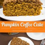This incredibly moist, flavorful pumpkin coffee cake is loaded with a streusel. Super easy recipe for all your fall baking! #pumpkin #coffeecake