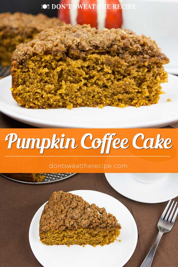 Pumpkin Coffee Cake - Pour a cup of coffee and take a break with a piece of this incredibly moist, flavorful pumpkin coffee cake loaded with a crumb topping. This is a fall baking must! #fall #christmas #thanksgiving #recipe #pumpkin #cake