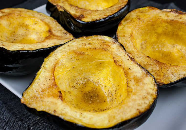Roasted Acorn Squash Halves - Perfect fall/winter side dish! Buttery sweet and nutty acorn squash recipe that's simple and easy to prepare.