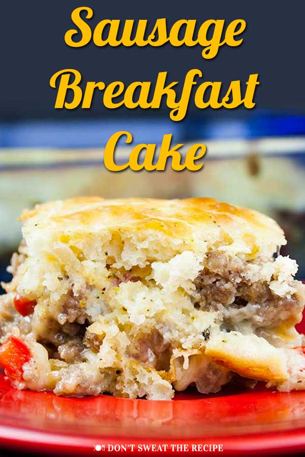 Sausage Breakfast Cake Recipe - Light, fluffy and yet warm and cheesy. All the flavors of a savory breakfast in one easy cake! #breakfast #cake #recipe #easy #comfortfood #sausage