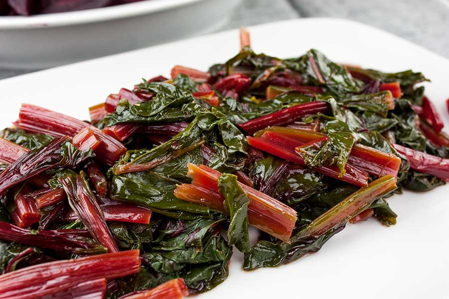 Ninja Foodi Fresh Beet Greens on a white platter