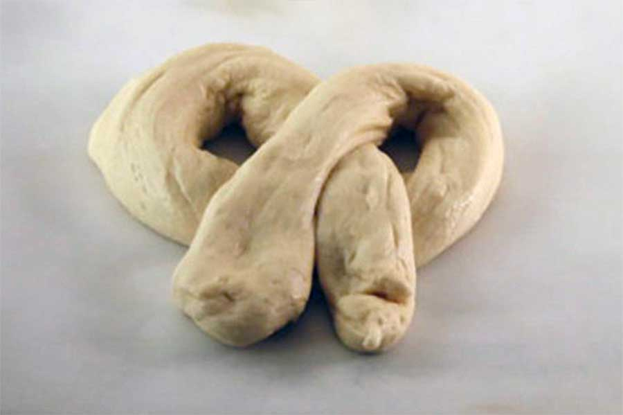 shaped Soft Pretzel dough