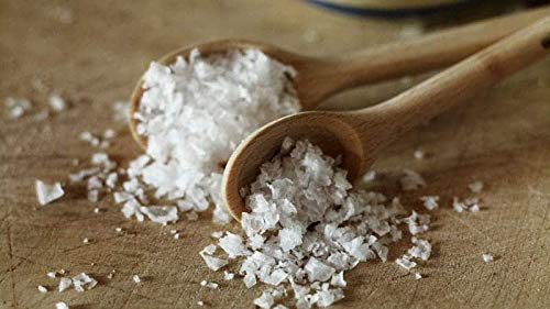 Maldon salt on a cutting board