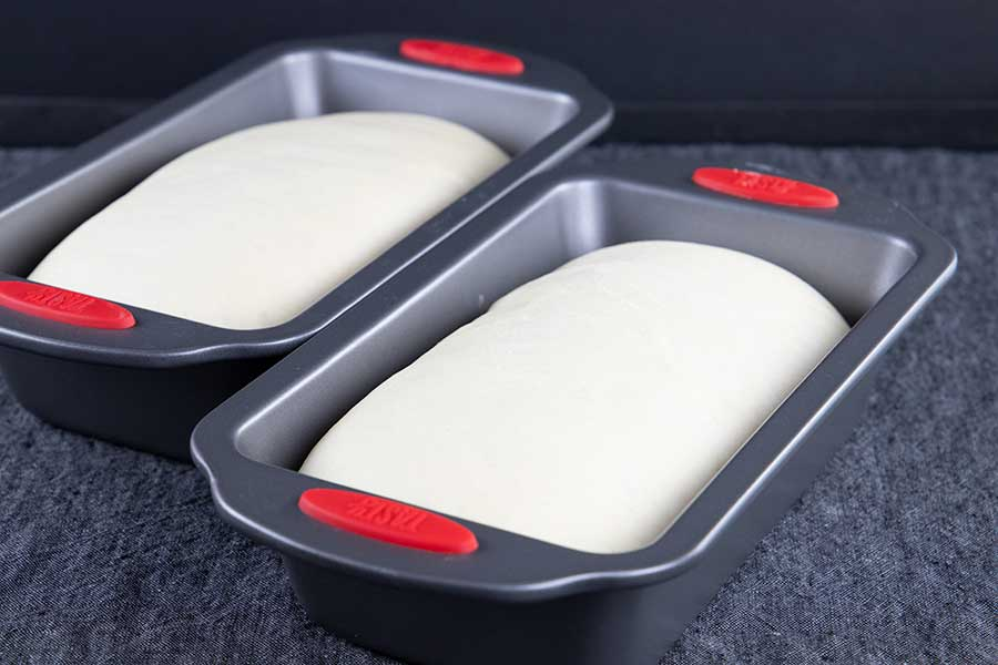 Risen dough in baking dishes.