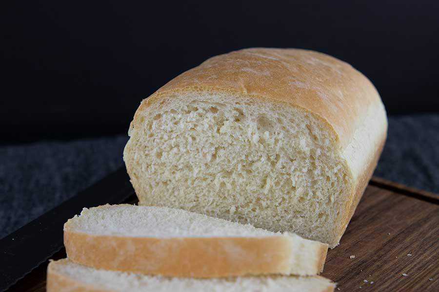 Freshly baked bread sliced