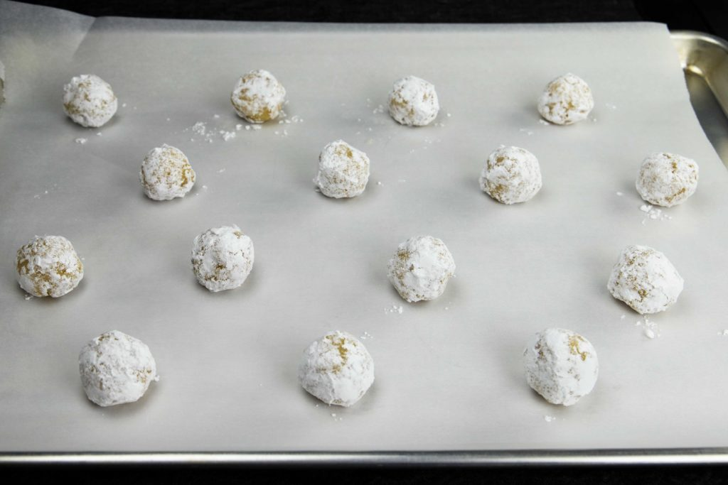Amaretti Cookies on baking sheet