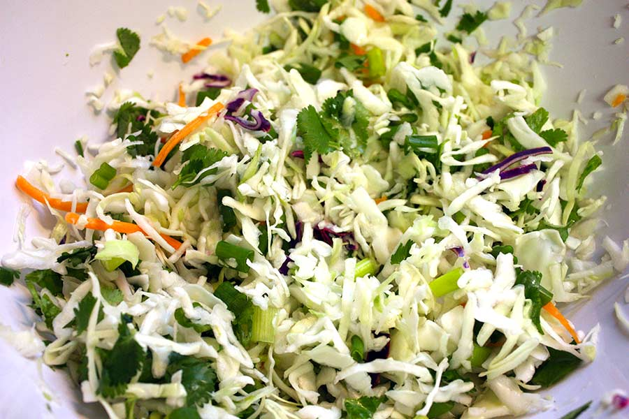 A slaw mix with cilantro