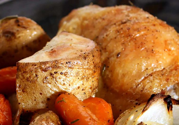 Roasted chicken thighs and vegetables