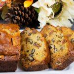 walnut fig bread on a white platter