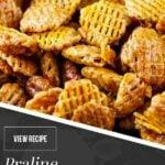 praline crunch snack mix in bowl