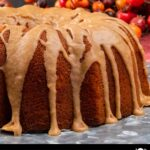 apple cider pound cake on silver platter