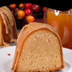 apple cider pound cake on a white plate