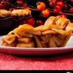 slice of apple pie on white plate