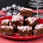 peppermint fudge on red plate