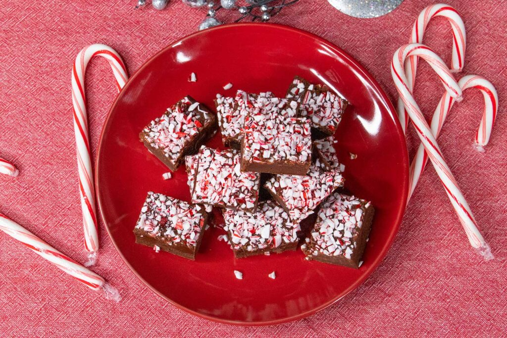 Peppermint fudge on a red plate