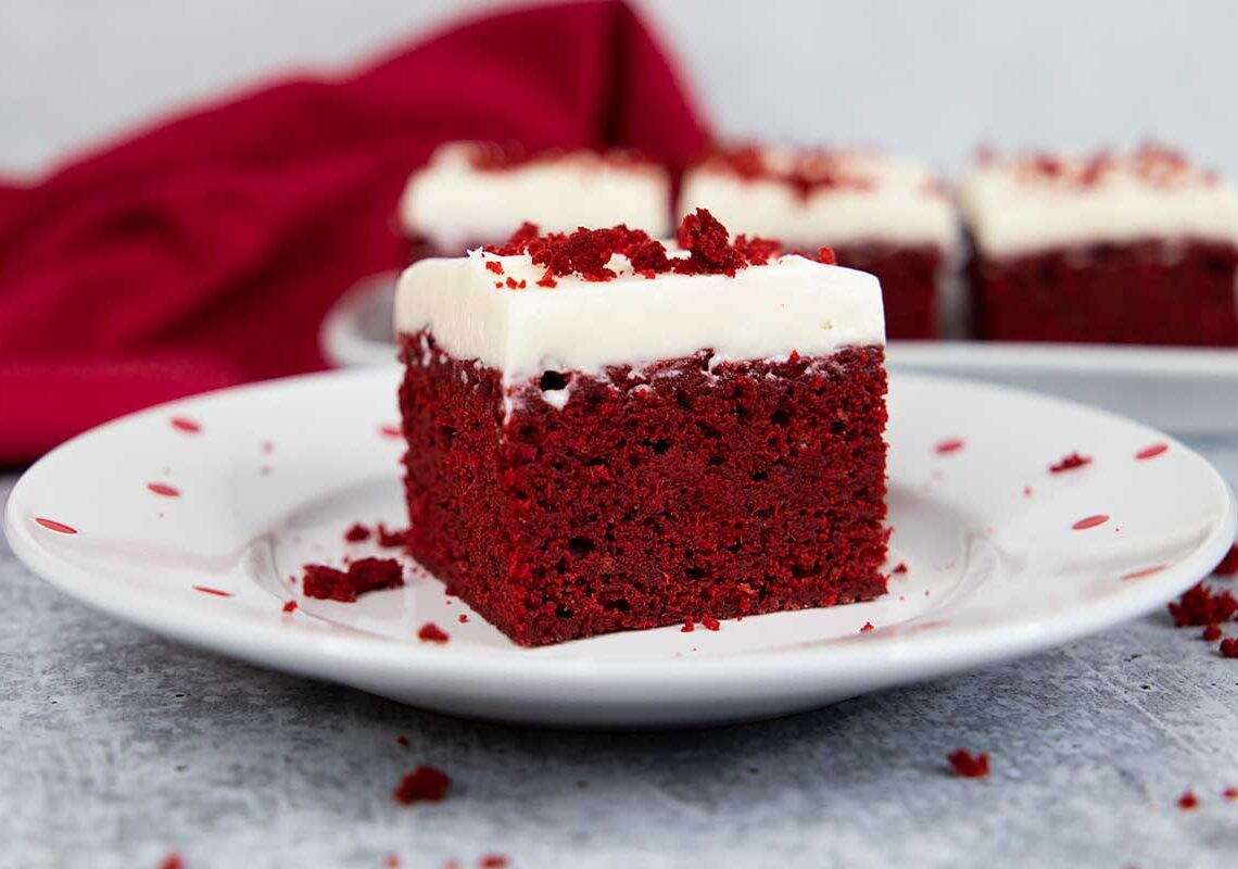 red velvet brownie on a white plate