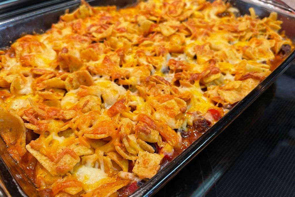 Frito pie casserole right out of the oven