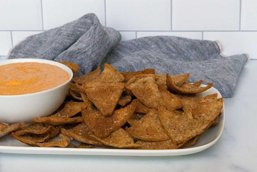 Homemade pita chips with dip