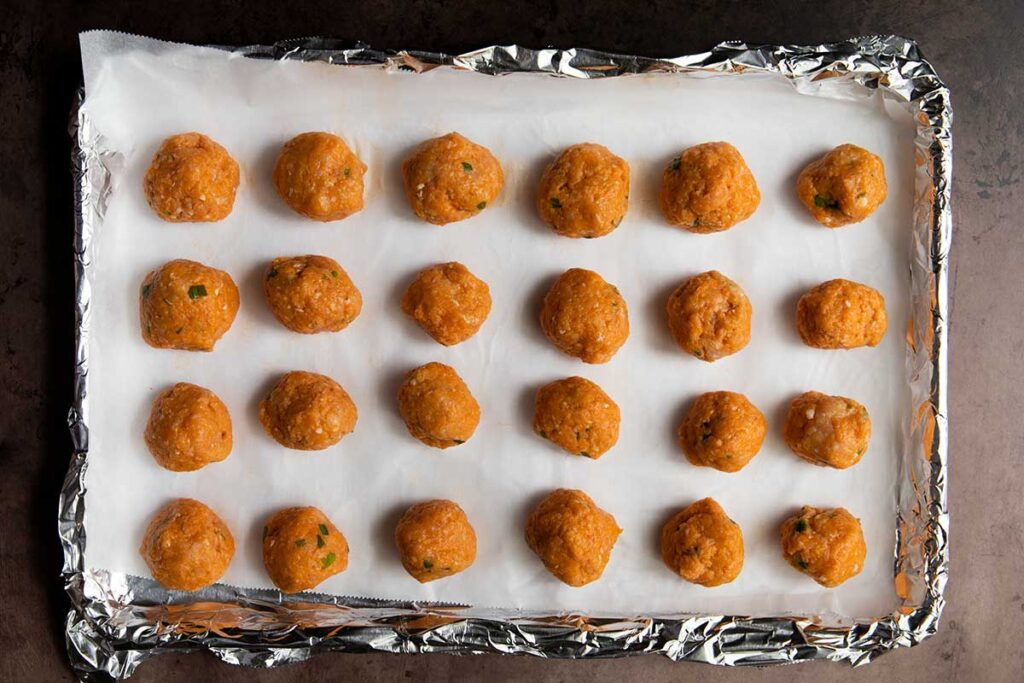 chicken meatballs about to go into the oven