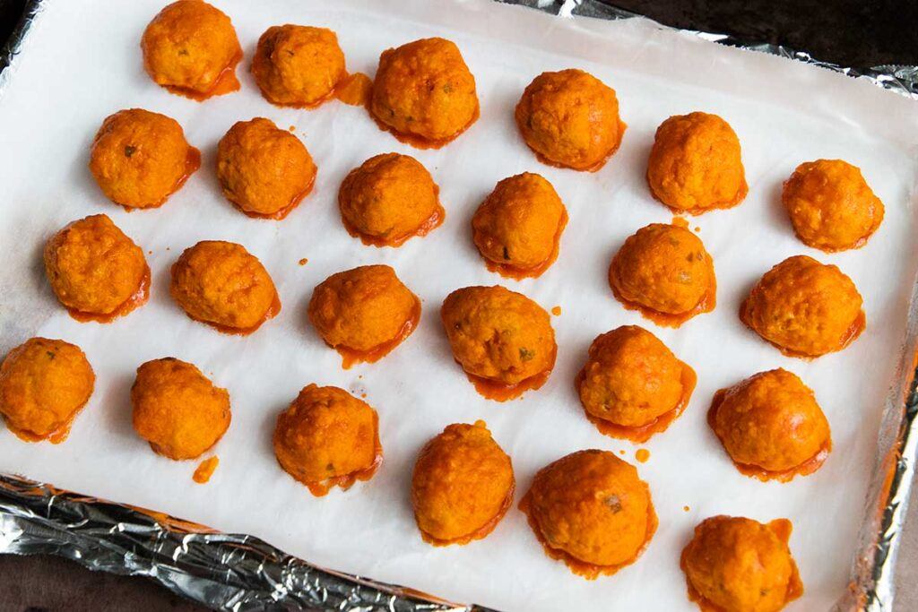 buffalo chicken meatballs right out of the oven