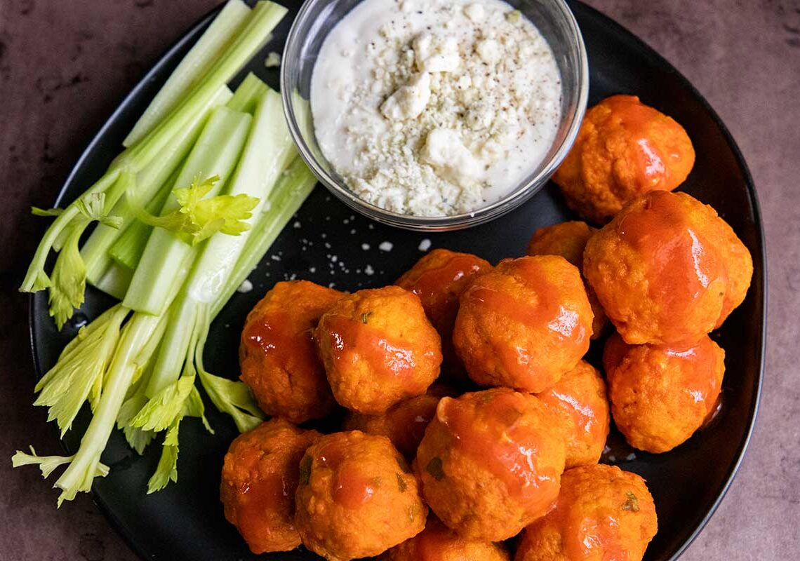 buffalo chicken meatballs with celery and blue cheese