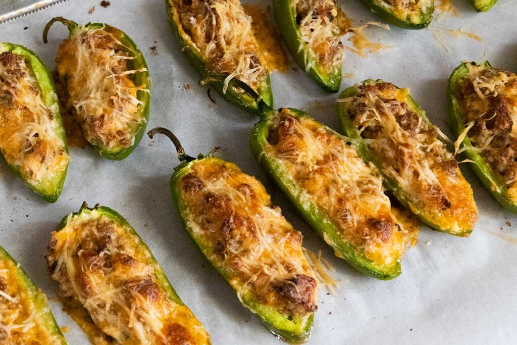 cooked jalapeno poppers right out of the oven