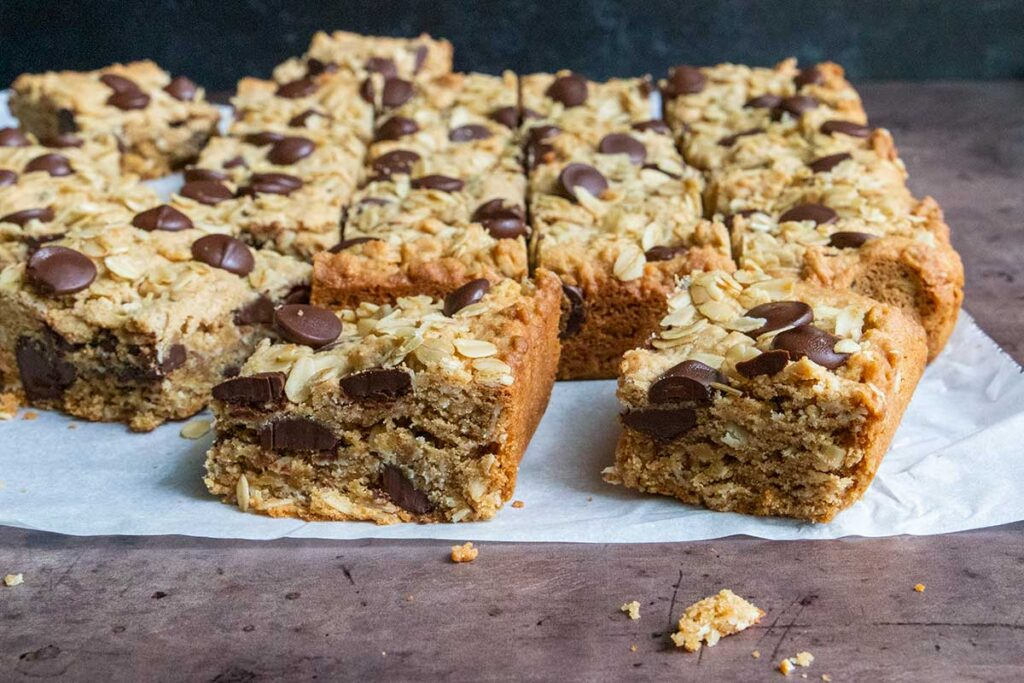 oatmeal chocolate chip bars on parchment paper
