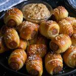 sausage pretzel bites with mustard