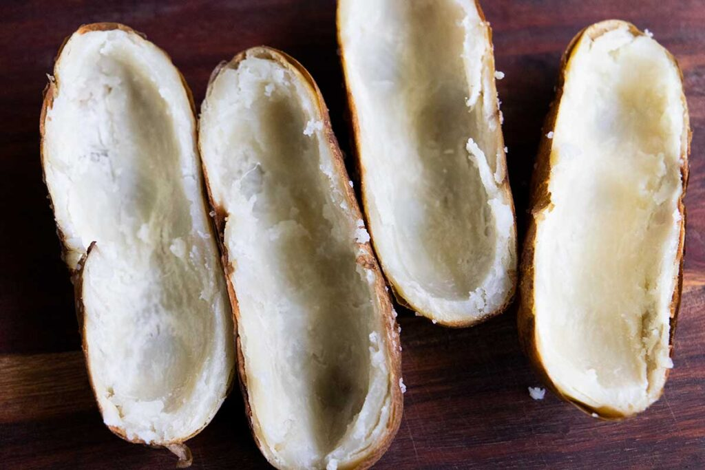 Hollowed out baked potatoes