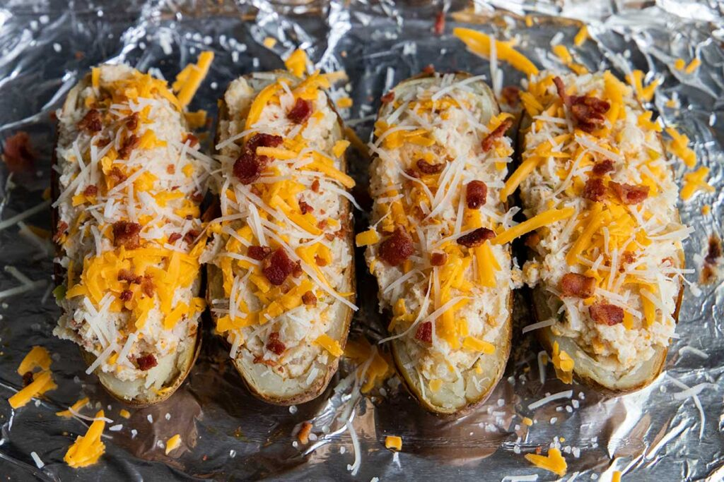 Twice baked potatoes about to go into the oven again