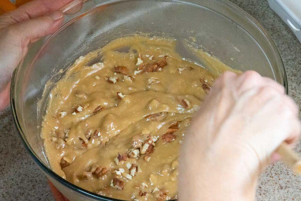 pecans stirred into fudge mixture