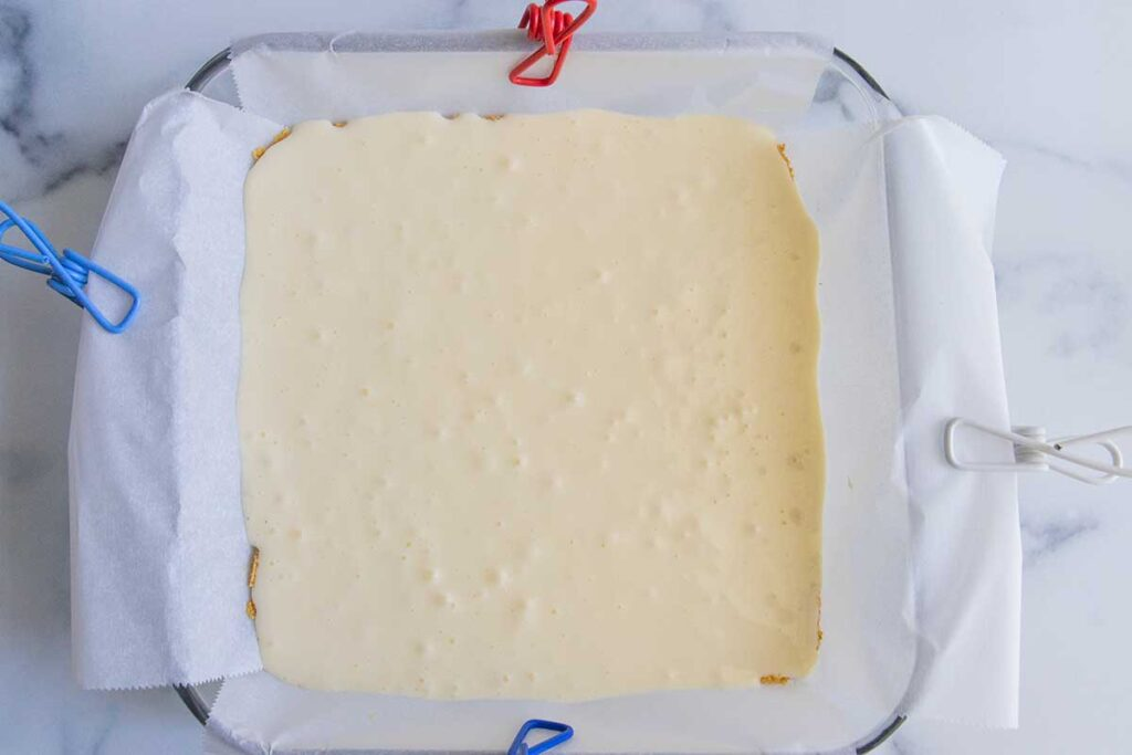 cheesecake layer in the baking pan