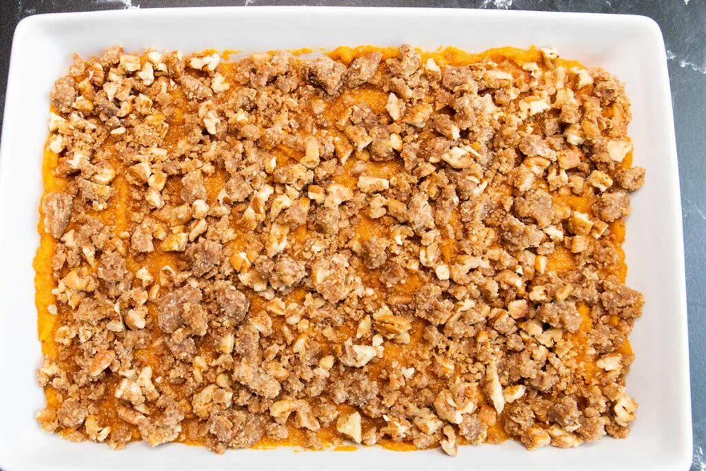 unbaked sweet potato casserole
