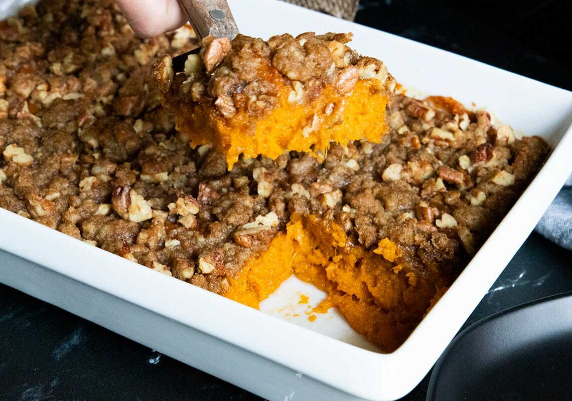 slice of casserole coming out of the pan