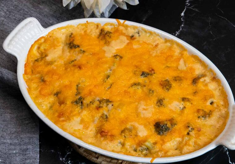 broccoli rice casserole in a white pan