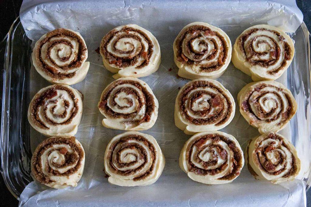 maple bacon cinnamon rolls unproofed